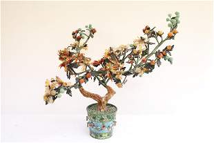 Chinese jade tree with cloisonne planter
