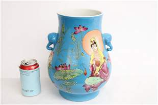 Chinese blue background famille rose jar