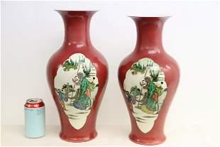 2 large Chinese famille rose porcelain vases