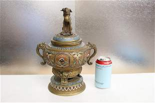 Chinese bronze champleve covered censer
