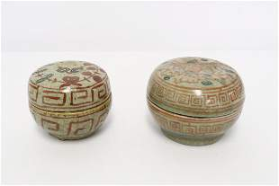 Pr Chinese vintage wucai porcelain covered boxes