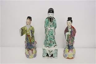 3 Chinese vintage famille rose porcelain figures