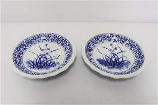 2 Chinese antique blue and white small plates