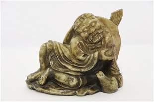 Antique Chinese shoushan stone carved deity