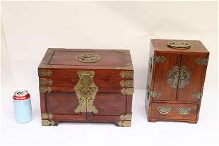 2 Chinese rosewood jewelry cases