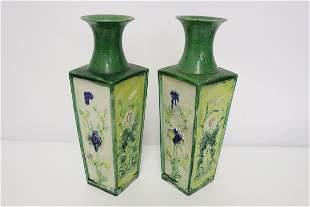Pair Chinese vintage fahua porcelain vases