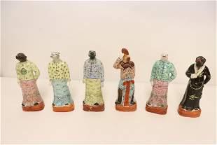 6 Chinese vintage famille rose porcelain figures