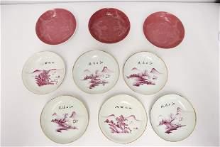 9 vintage porcelain small plates