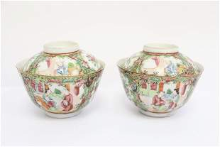 2 Chinese antique covered porcelain tea bowls