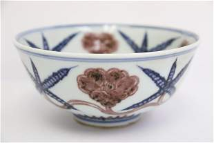 Chinese blue, red and white porcelain bowl