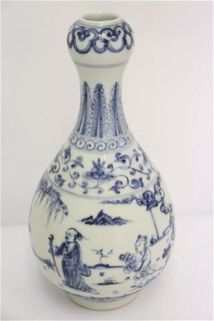Chinese blue and white porcelain garlic top vase