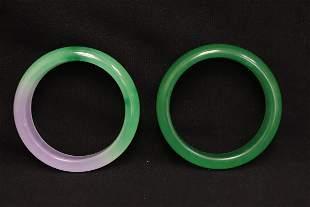 2 Chinese jadeite like bangles