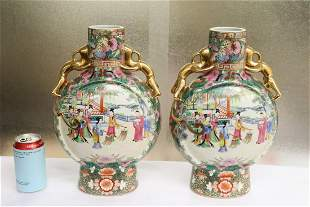 Pair Chinese famille rose porcelain flasks