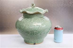 Chinese green glazed porcelain covered jar