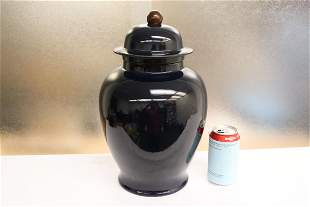 Chinese blue glazed porcelain covered jar
