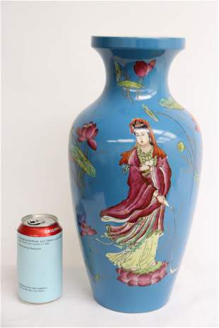 Chinese blue background famille rose vase