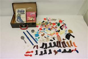 Vintage Barbie miniatures, and a reference book