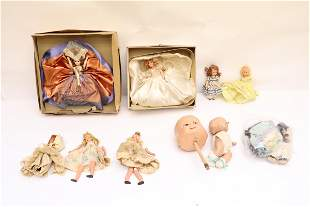 Lot of girl dolls & 2 composition baby doll/ doll head