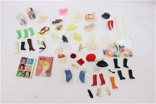 Lot of doll shoes, boots, hats, belts