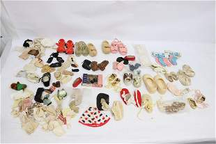 Lot of vintage doll shoes and more