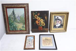 3 oil painting and 2 watercolor/ color pencil paintings