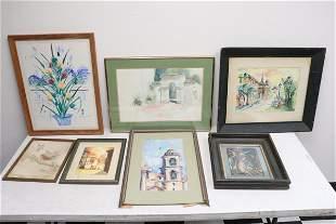 7 watercolor, color pencil paintings