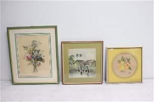 3 fine watercolor paintings