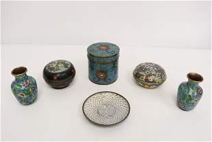6 Chinese vintage cloisonne pieces