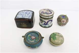 4 cloisonne pieces, a lacquer box w/ porcelain top
