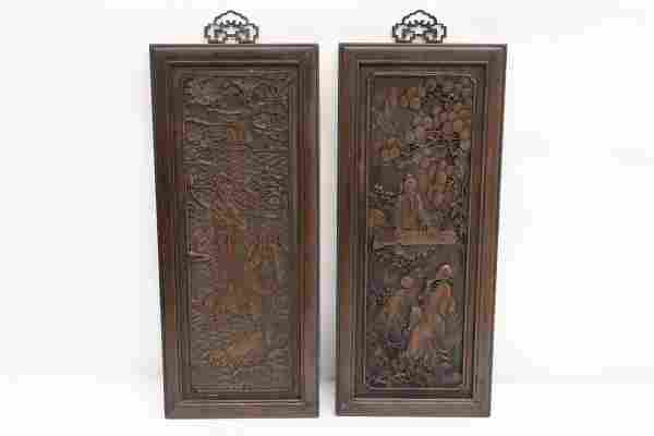 2 Fine Chinese wood carved panels
