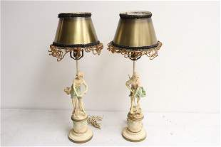 Pair painted metal antique French table lamps
