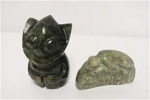 2 Eskimo alabaster carvings