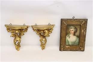 Antique framed print, & pr Italian gilt wood wall