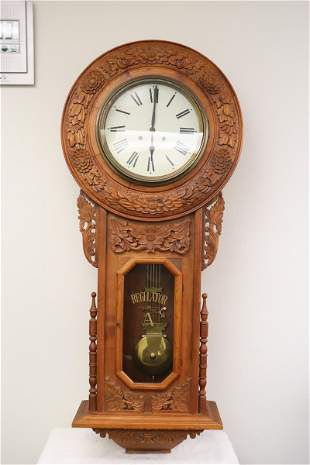 Wall clock with very fancy carved case