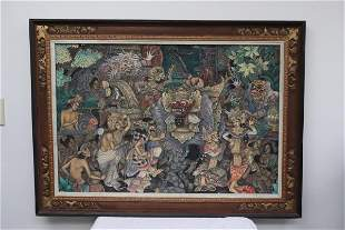 """Oil/ pastel on cloth """"mythical scene"""""""