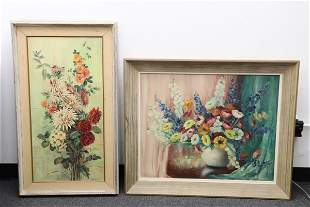 "2 oil on canvas paintings ""still life"""