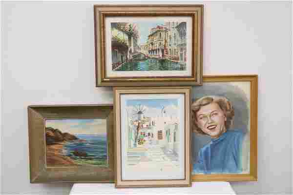 4 framed watercolor/ oil painting