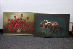 2 unframed oil on canvas paintings