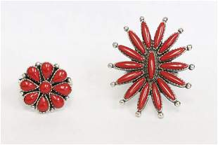 2 sterling rings with corals