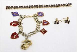 GF garnet bracelet & pr earrings, a chrom bracelet