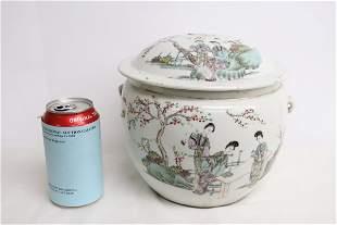 Famille rose porcelain covered jar, finial damage