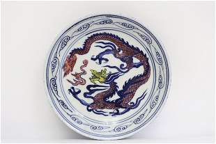 Chinese blue, red and white porcelain plate