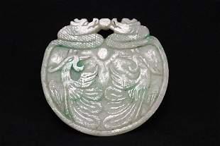 Chinese vintage apple green jadeite carved plaque