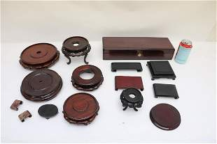 Lot of Chinese wood stands and wood box
