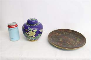 a cloisonne covered jar and a cloisonne plate