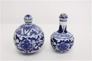 2 Chinese blue and white porcelain snuff bottles