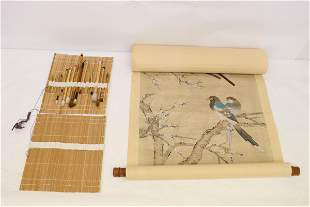 Chinese watercolor scroll and painting brushes
