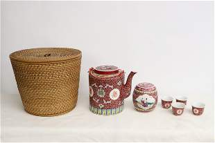 Chinese vintage famille rose tea set