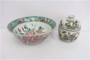 2 vintage Chinese famille rose porcelain items