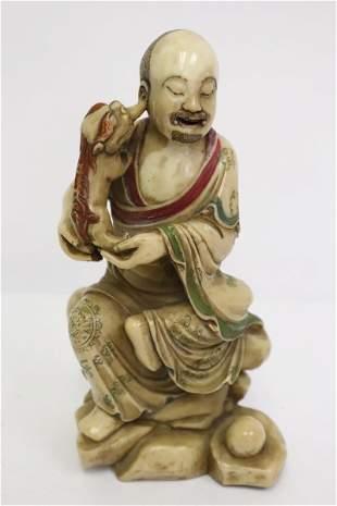 Fine Chinese shoushan stone sculpture of deity